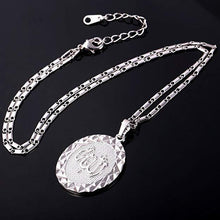 "Load image into Gallery viewer, ""Allah"" God Almighty Arabic Script Pendant Medallion Necklace in 18K White Gold Plating"