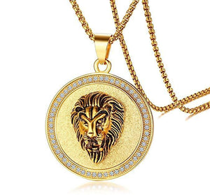 King of the Jungle Lion Pendant Medallion Necklace