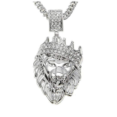 Pave King of the Jungle Lion Crown Pendant