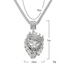 Load image into Gallery viewer, Pave King of the Jungle Lion Crown Pendant
