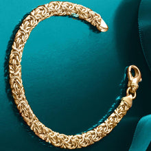 Load image into Gallery viewer, Byzantine Chain Bracelet in 18K Gold Plating