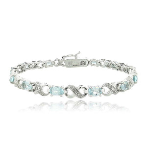 10.00 CT Genuine Blue Topaz Infinity Bracelet