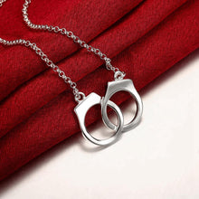 Load image into Gallery viewer, Handcuff Necklace in 18K White Gold Plating