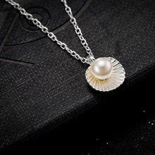 Load image into Gallery viewer, Seashell Pearl Necklace in 18K White Gold Plating