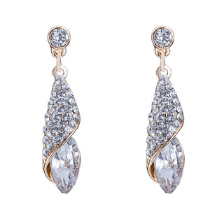 Swarovski Crystals White Topaz Drop Earring in 18K White Gold Plating