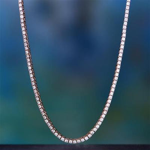 3mm Tennis Necklace with Swarovski Crystals in 18K Rose Gold Plating