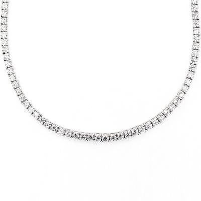 3mm Tennis Necklace with Swarovski Crystals in 18K White Gold Plating