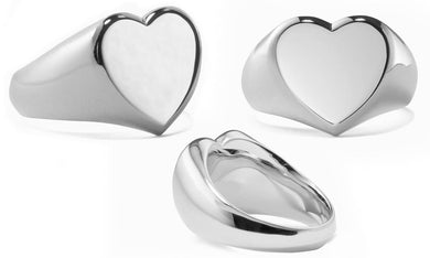 Heart Signet Ring in 18K White Gold Plating