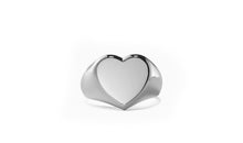 Load image into Gallery viewer, Heart Signet Ring in 18K White Gold Plating
