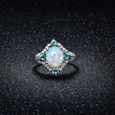 Aquamarine Opal Ring Set in 18K White Gold Plating