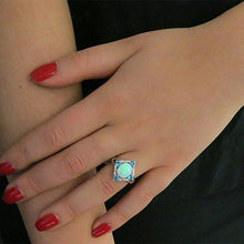 Load image into Gallery viewer, Aquamarine Opal Ring Set in 18K White Gold Plating