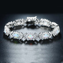 Load image into Gallery viewer, White Oceanic Opal Butterfly Bracelet in 14K White Gold Plating