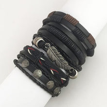 Load image into Gallery viewer, Americana Biker Leather Pull-Strap Bracelets Set