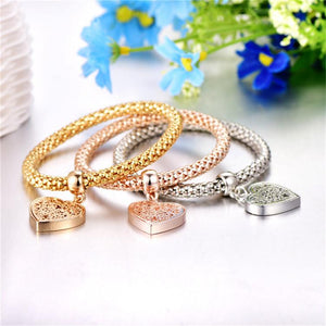 Trio Gold Filigree Hearts Charm Mesh Bracelets Sets