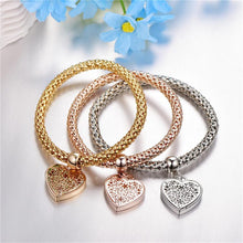Load image into Gallery viewer, Trio Gold Filigree Hearts Charm Mesh Bracelets Sets