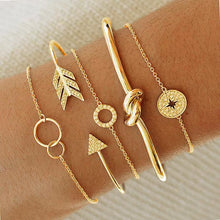Load image into Gallery viewer, 5 Piece Pav'e Loveknot Bracelet Gold Plated Set