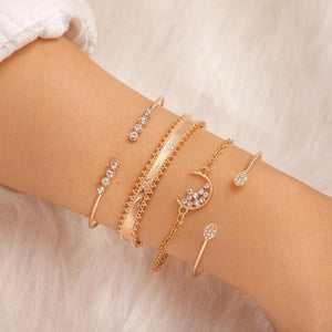 White Crystal Celestial 4 PC Bangle Set in 14K Plating