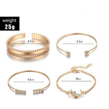 Load image into Gallery viewer, White Crystal Celestial 4 PC Bangle Set in 14K Plating
