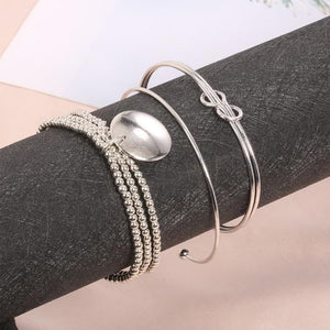 Classic Loveknot Twisted 3 Piece Bracelet Set