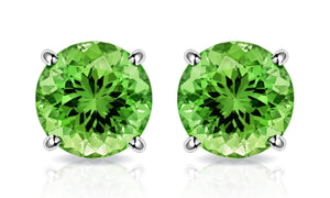 Peridot Created Swarovski Crystal 6mm Stud Earring