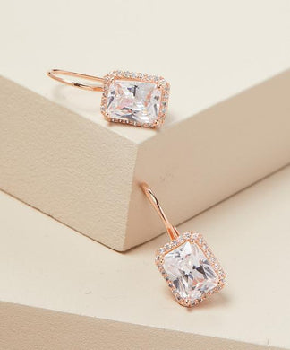 Emerald Cut Swarovski Elements Leverback Earrings