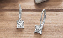 Load image into Gallery viewer, Diamond Princess Cut Leverback Earring in 18K White Gold Plating