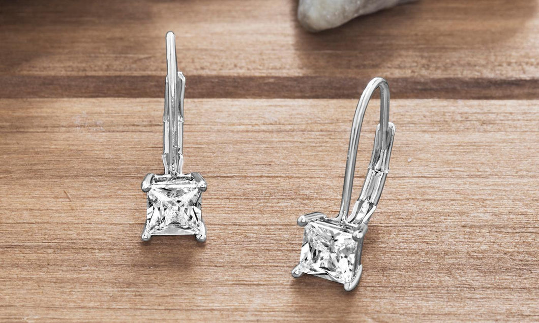 Diamond Princess Cut Leverback Earring in 18K White Gold Plating
