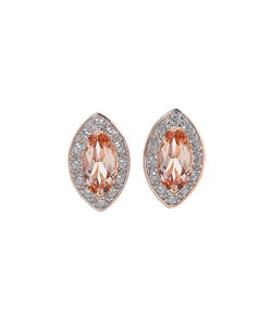 1.00 CT Morganite Marquise Cut Stud Earring in 18K Rose Gold Plating