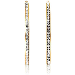 "3"" Classic Inside Out Pave Hoop Earring"