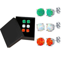Load image into Gallery viewer, 3 Pairs in 1 Opal Stud Earring