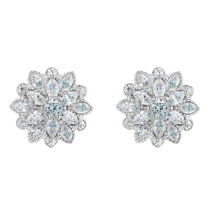 White Crystal Flower Earrings