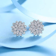 Load image into Gallery viewer, White Crystal Flower Earrings