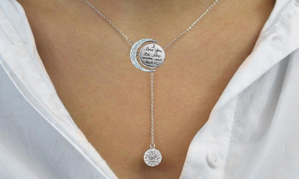 Engraved To The Moon And Back Y Necklace