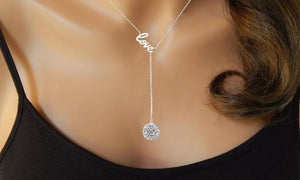 Silver Love Y Necklace Made with Swarovski Crystals