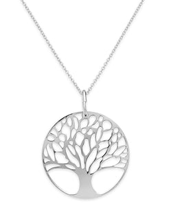 "Classic Tree of Life Necklace 18""in 18K White Gold Plating"