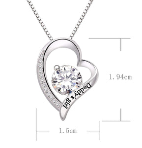 """Daddys Girl"" Heart Necklace Embellished with Swarovski Crystals in 18K White Gold Plating"