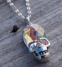 Load image into Gallery viewer, Aurora Borealis Skull Pendant Necklace in 14K White Gold Plating