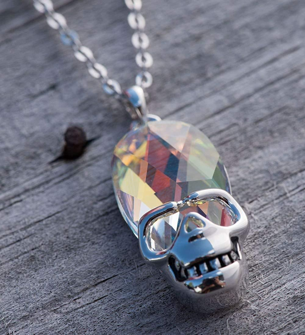 Aurora Borealis Skull Pendant Necklace in 14K White Gold Plating