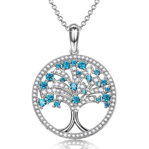 Blue Crystal Mother Nature Tree of Life Pendant Necklace