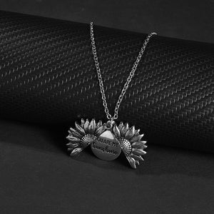 You Are My Sunshine Open Sunflower Necklace in 14K Gold Plating