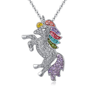 Swarovski Crystal Rainbow Unicorn Necklace in 14K Gold Plating - 2 Options