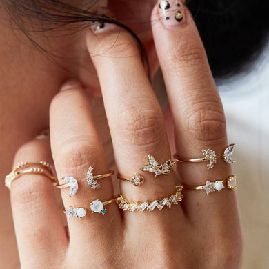 Opal & Butterfly Crystals 6 Piece Ring Sets