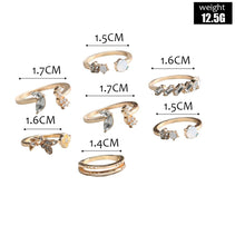 Load image into Gallery viewer, Opal & Butterfly Crystals 6 Piece Ring Sets