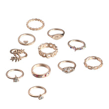 Load image into Gallery viewer, 11-Piece Minimalist Bohemian Pav'e Ring Set in 14K Gold Plating