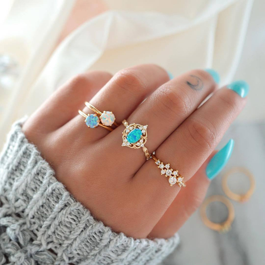 4-Piece Opal & White Crystal Ring Set