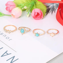 Load image into Gallery viewer, 4-Piece Opal & White Crystal Ring Set