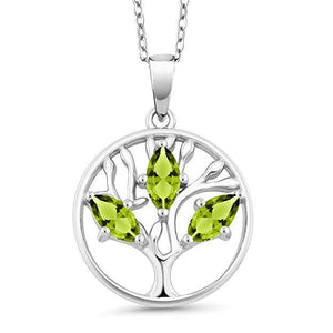 Peridot Trio Marquis Cut Tree of Life Necklace in 14K White Gold Plating