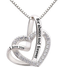 "Load image into Gallery viewer, ""I Love you Forever and Always"" Heart Necklace Embellished with Swarovski Crystals in 18K White Gold Plating"