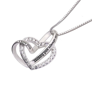 """I Love you Forever and Always"" Heart Necklace Embellished with Swarovski Crystals in 18K White Gold Plating"