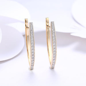 White Swarovski Elements Thin Earrings In 14K Gold Plating